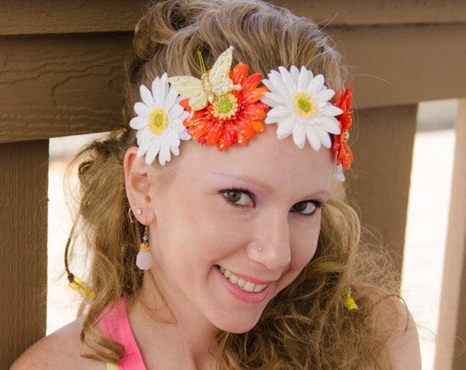 White Orange Daisy Flower Crown