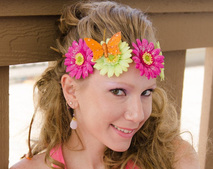 Fuchsia Green Daisy Flower Crown