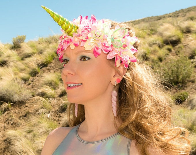 Pink Green Unicorn Flower Crown