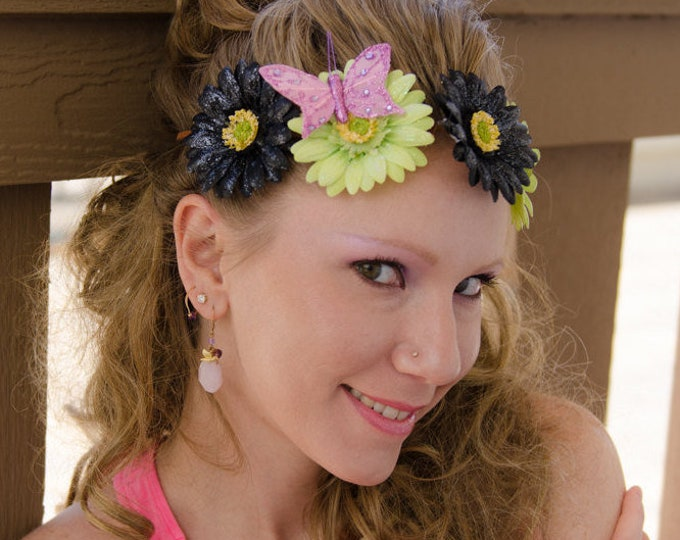 Black Green Daisy Flower Crown