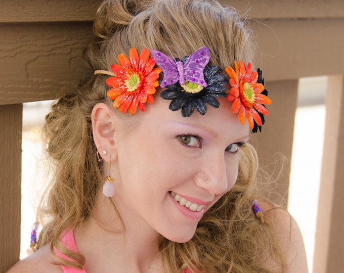 Orange Black Daisy Flower Crown