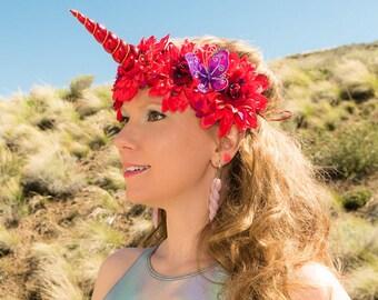 Red Purple Unicorn Flower Crown, Unicorn Headband, Flower Headband, Unicorn Crown, Unicorn Horn Headband, Unicorn Costume, Rave Costume