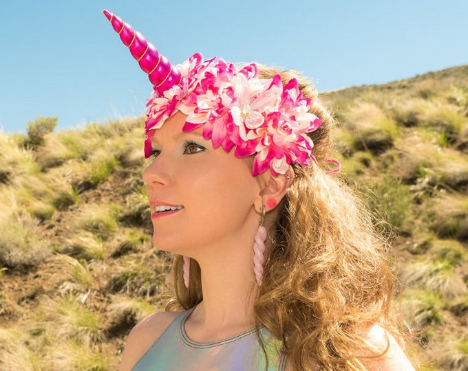 Fuchsia Pink Unicorn Flower Crown