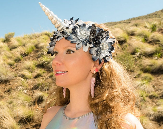 Black Gray Unicorn Flower Crown