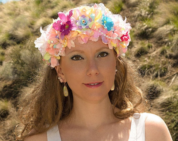 Pastel Mermaid Flower Crown