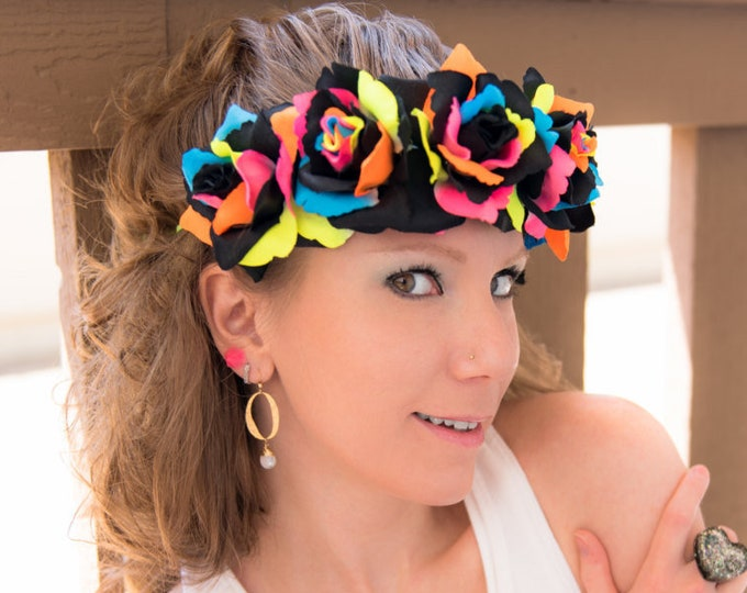 Black Neon Rainbow Rose Flower Crown