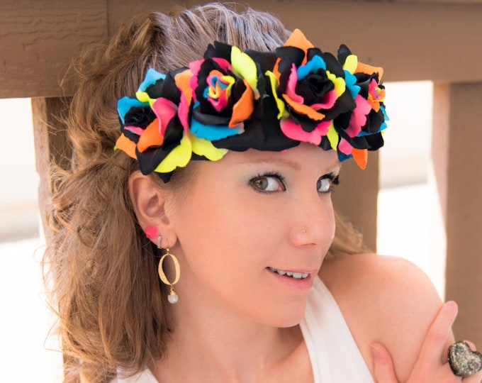 Black Neon Rainbow Rose Flower Crown