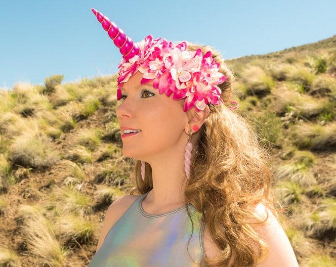 Fuchsia Pink Unicorn Flower Crown