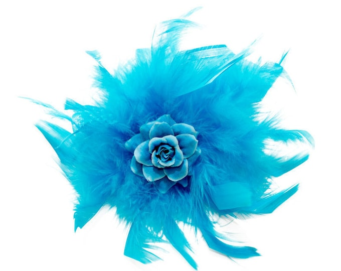 Blue Feather Flower Clip