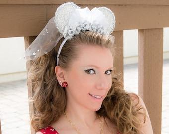 Bridal Mouse Ears, Mickey Ears, Minnie Ears, Wedding Minnie Ears, Sequin Minnie Ears, Flower Minnie Ears, Wedding Mickey Ears, Disneybound