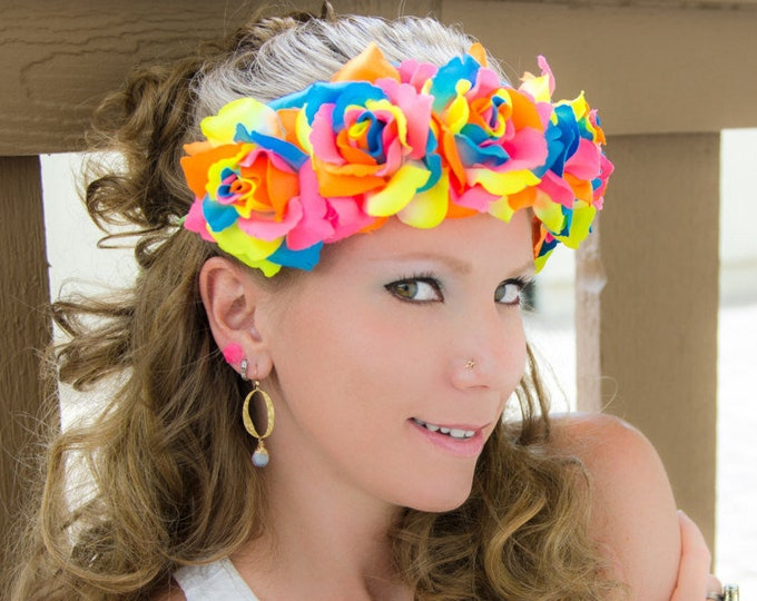 Neon Rainbow Rose Flower Crown
