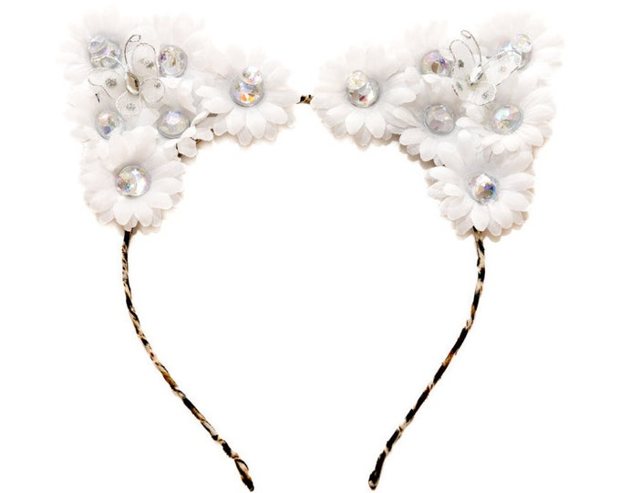 White Cat Ear Headband