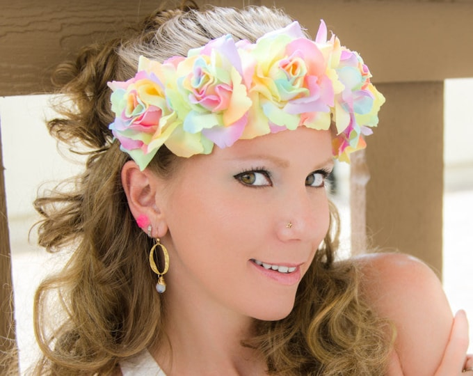 Pastel Rainbow Rose Flower Crown