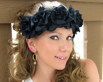 Black Rose Flower Crown, Flower Headband, Halloween Headband, Día de Muertos Headband, Bridal Headband, Bridesmaid Headband, Hippie Headband