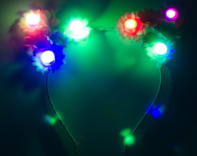 Pastel Rainbow LED Cat Ears