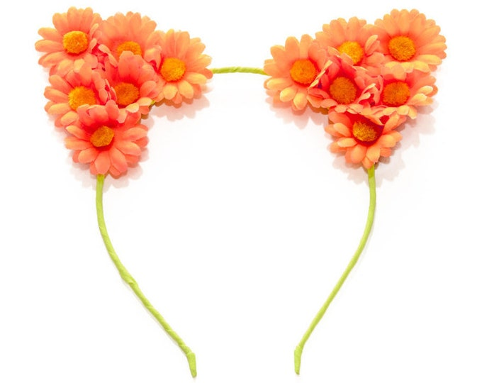 Neon Orange Cat Ear Headband