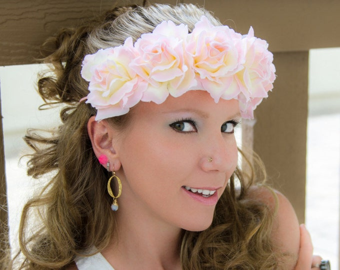Light Pink Rose Flower Crown