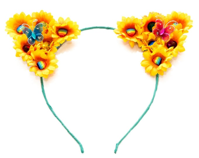 Sunflower Rainbow Cat Ear Headband