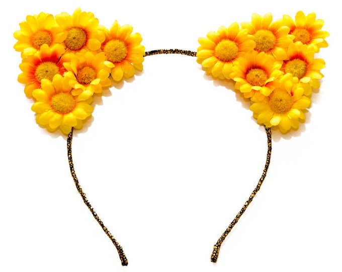 Yellow Cat Ear Headband