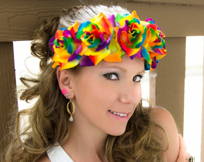 Rainbow Rose Flower Crown
