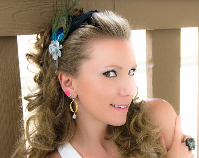 Silver Rose Peacock Feather Headband