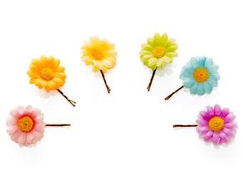 Pastel Rainbow Flower Hair Pin Set, Flower Bobby Pin, Daisy Hair Pin, Daisy Bobby Pin, Kawaii Hair Accessories, Pride Accessories, Rave Wear