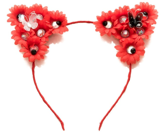 Red Cat Ear Headband