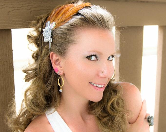 Silver Rose Feather Headband
