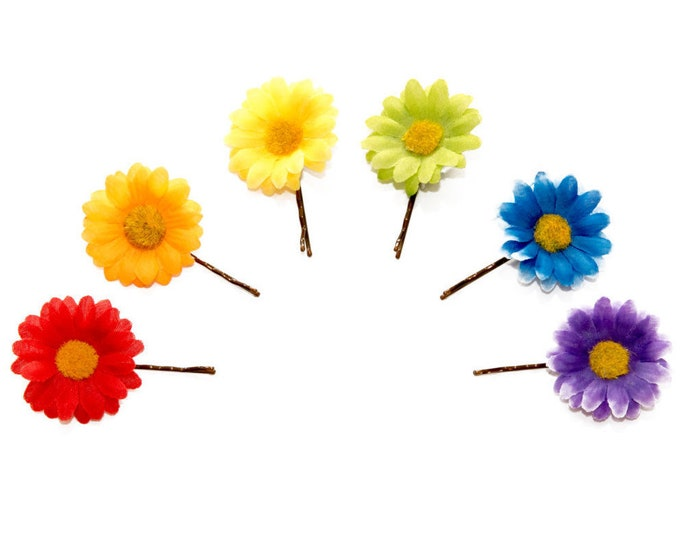 Rainbow Flower Hair Pin Set