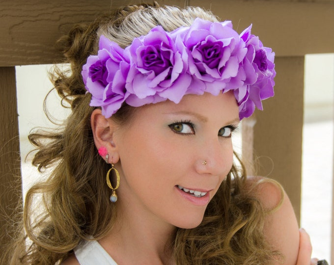 Purple Rose Flower Crown