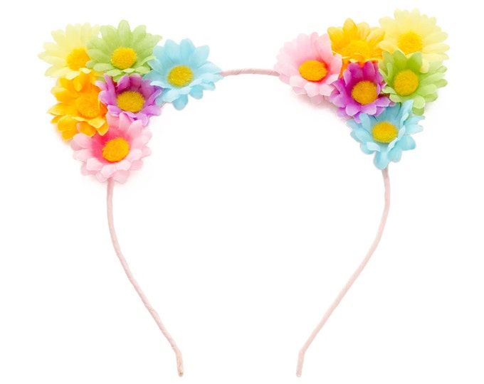 Pastel Rainbow Cat Ear Headband