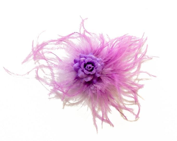 Purple Feather Flower Clip