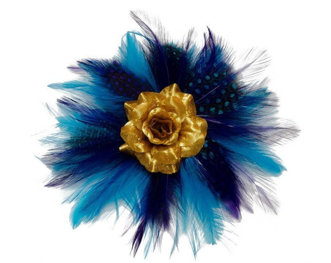 Gold Rose Feather Flower Clip