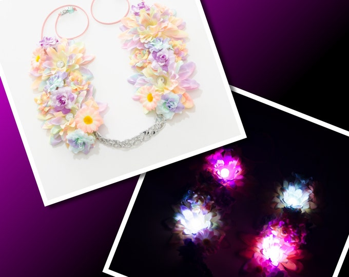 Pastel Rainbow LED Flower Crown