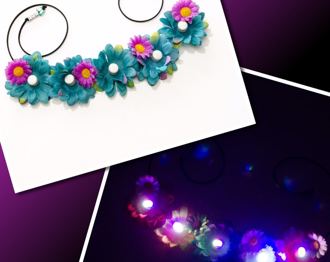 Teal Purple Daisy LED Flower Crown