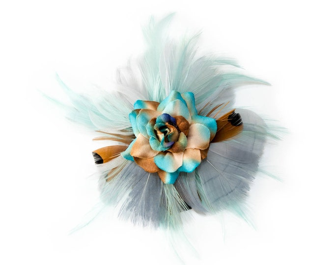 Teal Rose Feather Flower Clip