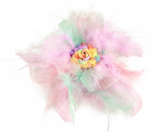 Pastel Rainbow Feather Flower Clip