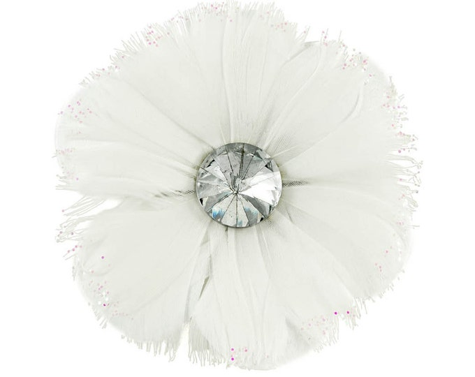 White Feather Rhinestone Flower Clip