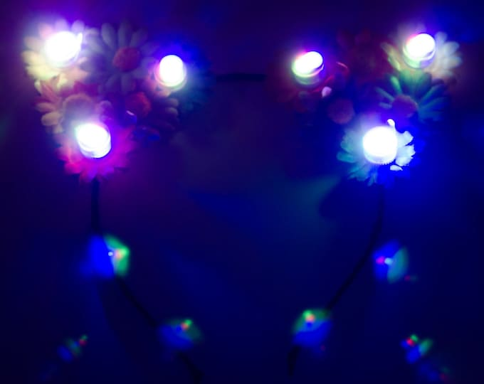 Customizable Rainbow LED Cat Ear Headband