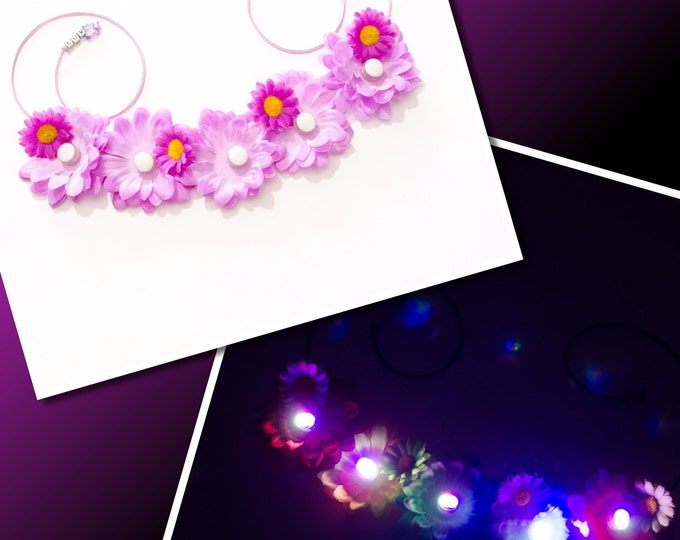 Purple Daisy LED Flower Crown