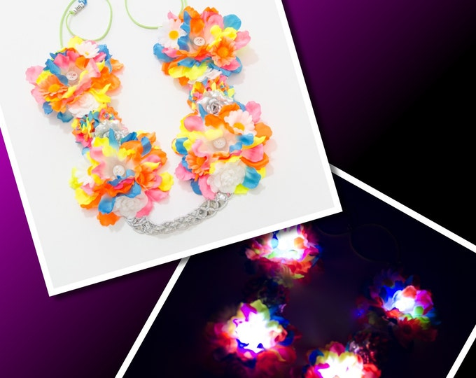 Neon Rainbow LED Flower Crown