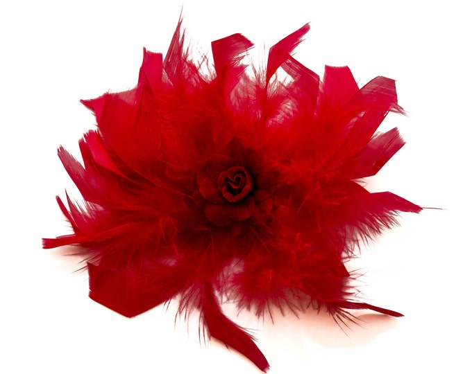 Red Feather Flower Clip