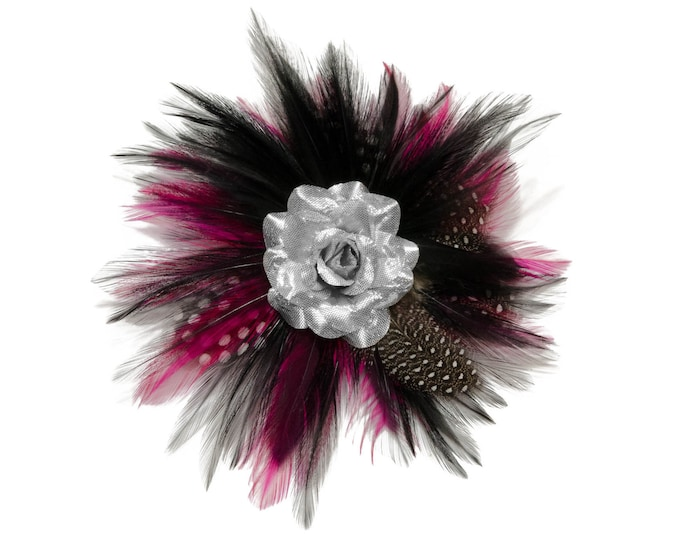 Silver Rose Feather Flower Clip