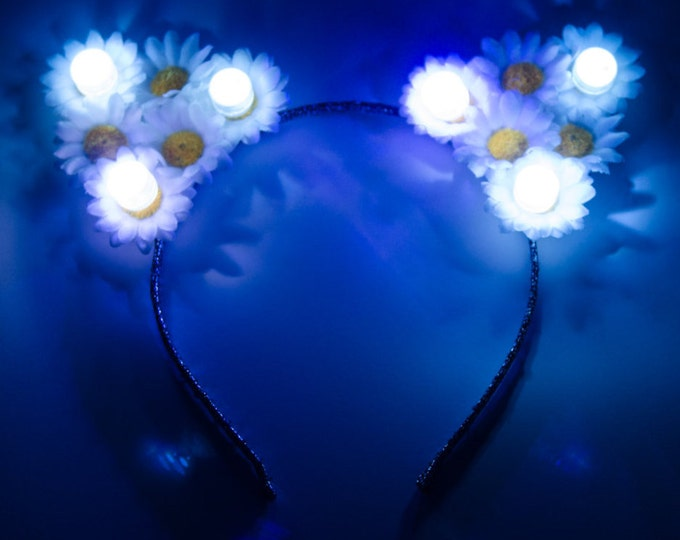 Customizable White LED Cat Ear Headband