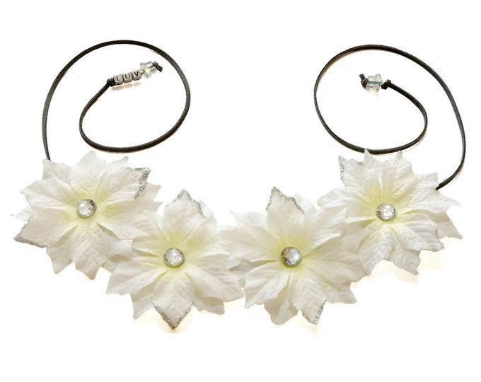 White Poinsettia Flower Crown