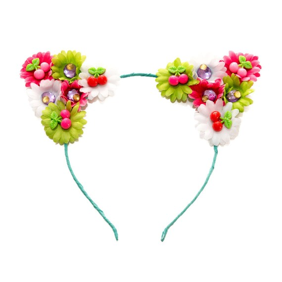 LED Headband Customizable Pink LED Cat Ear Headband Kitty Ears Cat Costume Rave Headband Rave Wear Rave Costume Floral Cat Ears