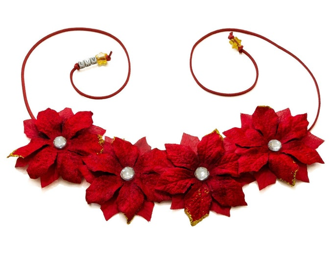Red Poinsettia Flower Crown