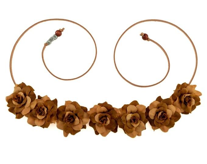 Autumn Brown Rose Flower Crown