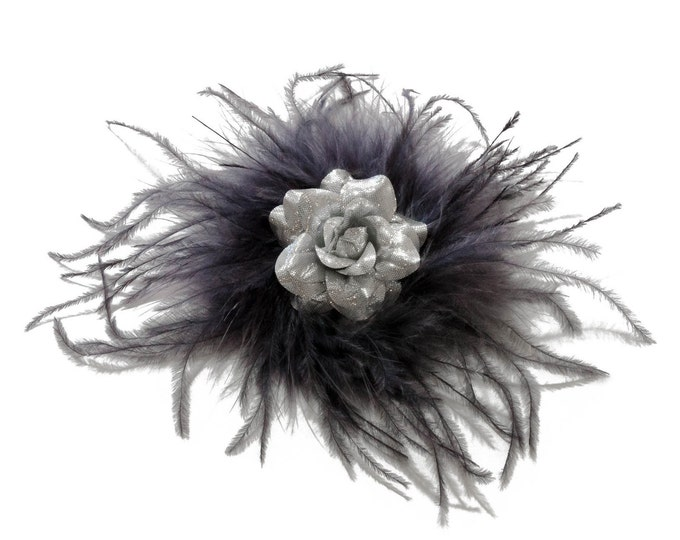 Silver Feather Flower Clip