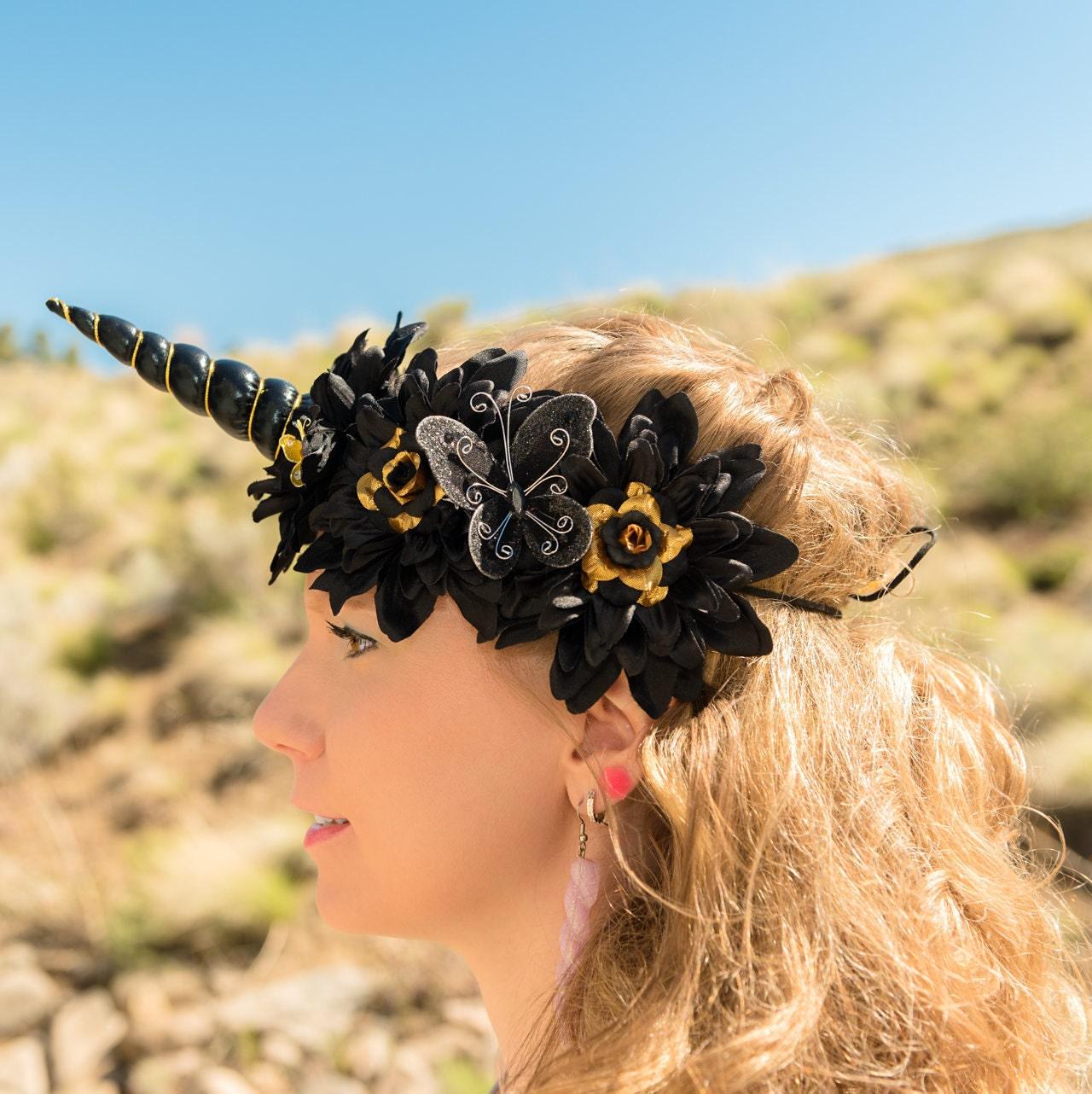 Black gold unicorn flower crown izmirmasajfo